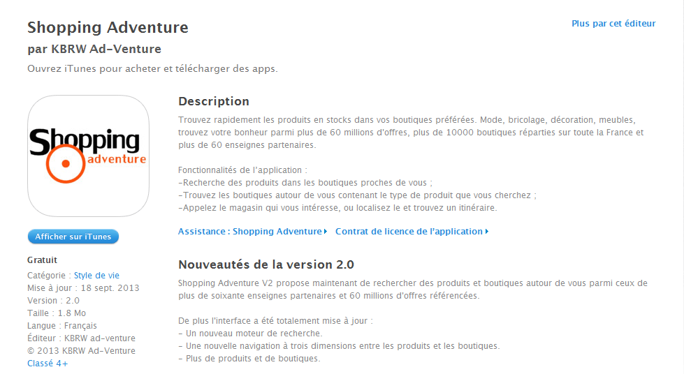 Application Shopping Adventure en V2