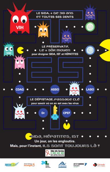 SIDA VIH Hépatite Pac-Man