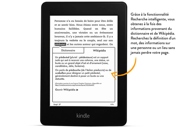 Kindle Paperwhite Amazon fonction dictionnaire