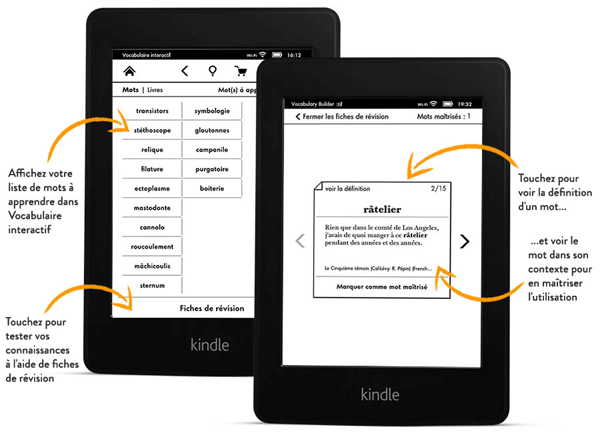 Kindle Paperwhite Amazon fonction vocabulaire interactif