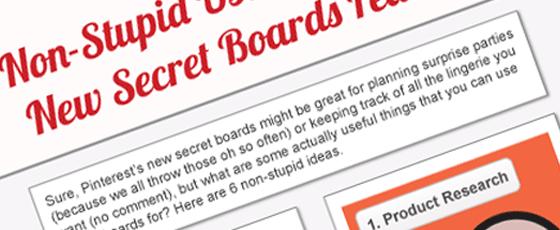 Utilisation des tableaux secrets Pinterest